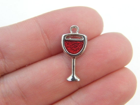 BULK 20 Wine glass charms with red enamel silver tone FD10