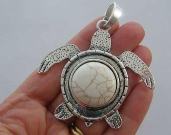 1 Turtle pendant white antique silver tone BFM15