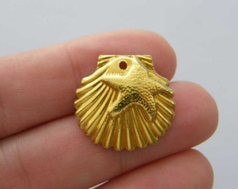 8 Shell charms  gold tone GC198