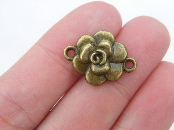 8 Rose connector charms antique bronze tone BC118