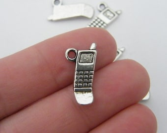 12 Cell phone charms antique silver tone PT26