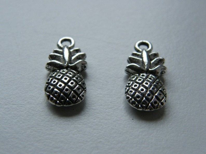 BULK 50 Pineapple charms antique silver tone FD215