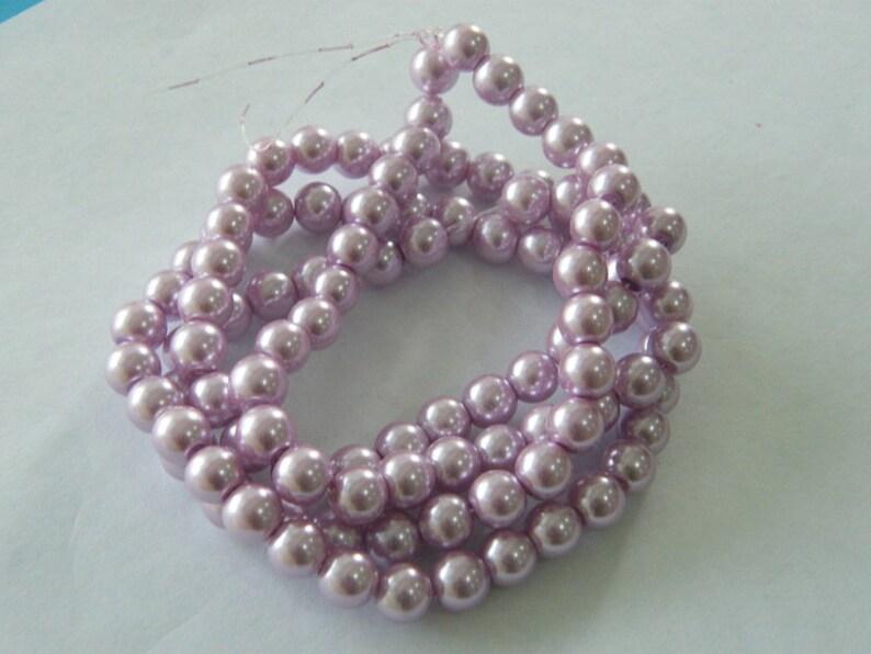 100 Lilac purple imitation pearl  glass beads B206