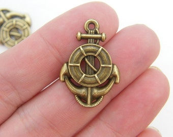 6 Anchor charms antique bronze tone BC116