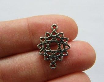 BULK 50 Chakra connector charms antique silver tone I34 - SALE 50% OFF