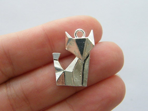 Bulk 20 Paper Fox Origami Charms Silver Plated Pt104 Etsy