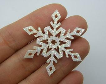 10 Snowflake embellishment white glitter material SF08