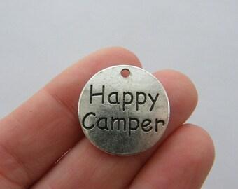 2 Happy camper charms antique silver tone M467