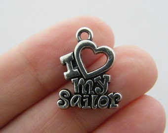 4 I love my sailor charms antique silver tone G72