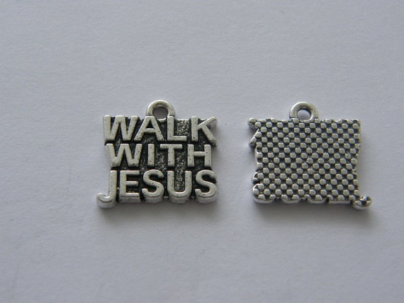 2 Walk with Jesus charms antique silver tone R61