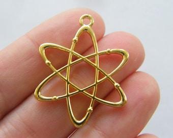 6 Atom charms gold tone GC178
