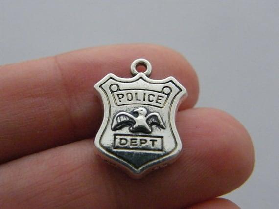 BULK 20 Police dept charms antique silver tone G59