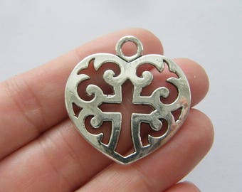 4 Cross heart charms antique silver tone C108