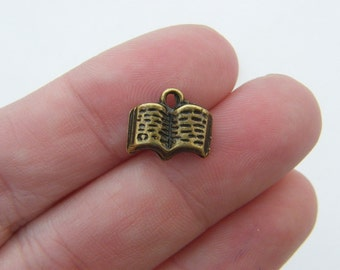 10 Book charms antique bronze tone BC98