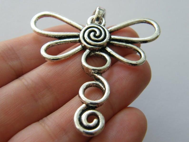 BULK 5 Dragonfly pendants antique silver tone A994