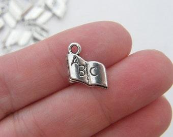 BULK 50 Book charms antique silver tone PT7