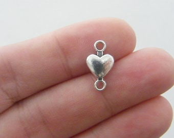 12 Heart connector charms antique silver tone H70