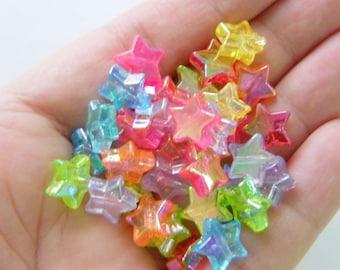 100 Star beads random mixed transparent AB acrylic S140