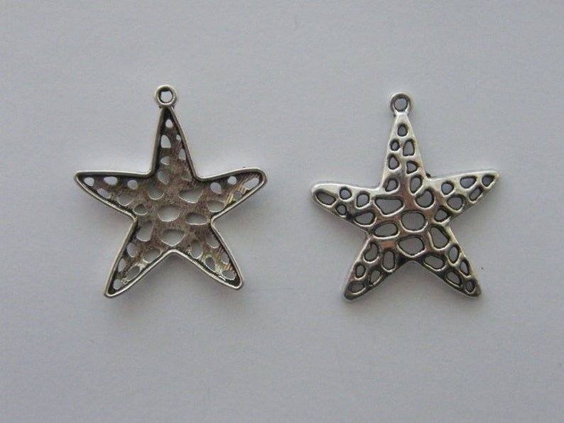 BULK 20 Star charms antique silver tone S46