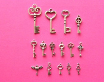 The Ultimate Key Charms Collection - 15 different antique silver tone charms