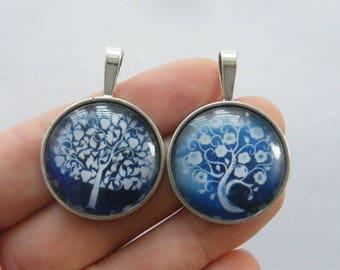 2 Random blue tree glass cabochon pendants antique silver tone T116