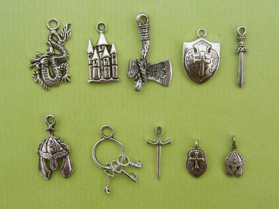 10 different antique silver tone charms Medieval Collection