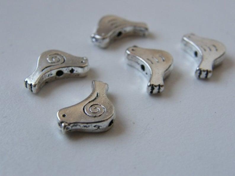 BULK 50 Bird spacer beads antique silver tone B90