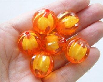 10 Pumpkin beads orange 20mm acrylic HB3