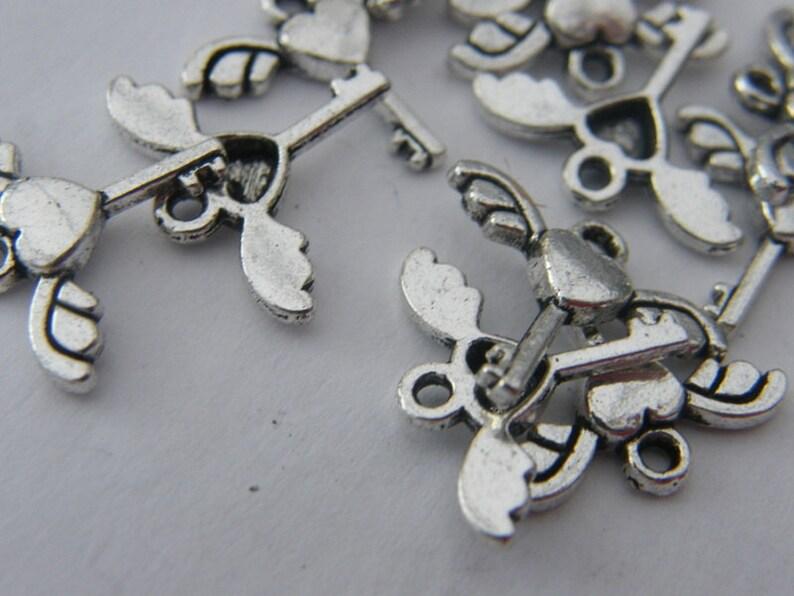 BULK 50 Key key charms antique silver tone K25