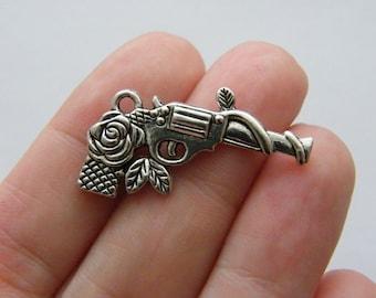 5 Gun charms antique silver tone G5