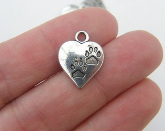 10 Heart with paw prints charms  antique silver tone A477