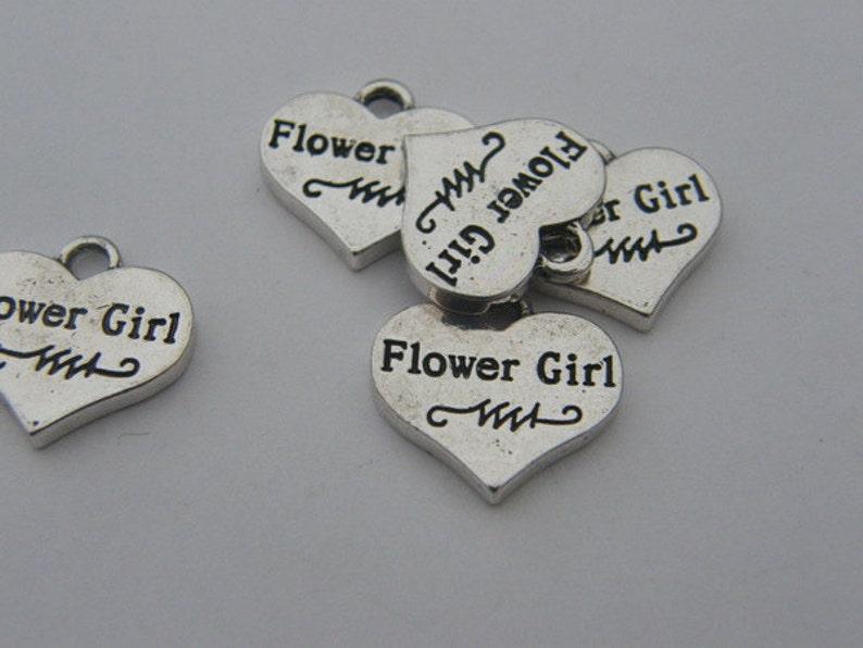 BULK 20 Flower girl heart pendants antique silver tone M479