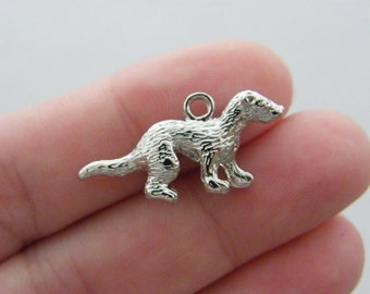 4 Weasel charms silver tone A49