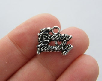 BULK 20 Forever family charms antique silver tone M86