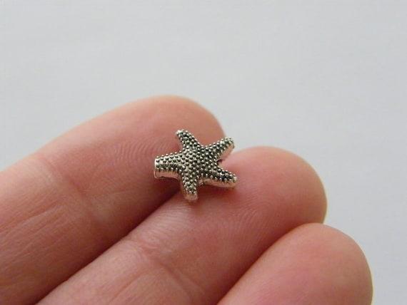 BULK 50 Starfish spacer beads antique silver tone FF529