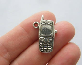6 Cell phone charms antique silver tone PT113