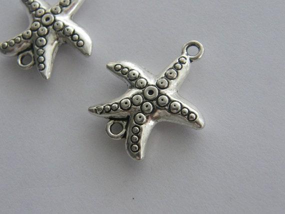 BULK 20 Starfish  connector charms antique silver tone FF246