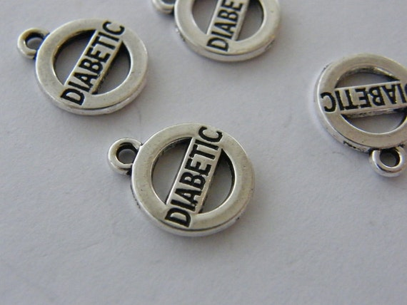 BULK 20 Diabetic charms antique silver tone MD49