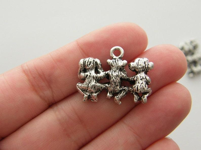 BULK 10 Monkey charms antique silver tone A206