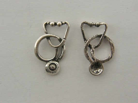 2 Stethoscope charms antique silver tone MD19