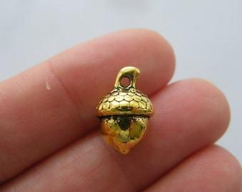 BULK 30 Acorn charms antique gold tone GC158