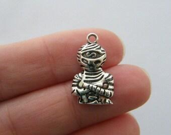 4 Mummy charms antique silver tone HC39