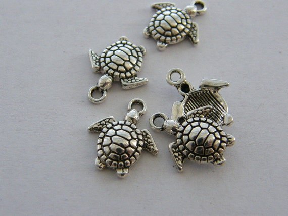 BULK 50 Turtle charms antique silver tone FF130