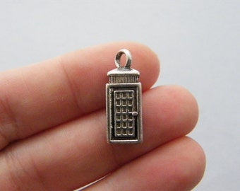 5 Telephone booth charms antique silver tone PT41