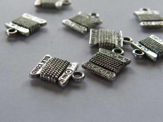 BULK 50 Spool  cotton reel thread charms antique silver tone P495