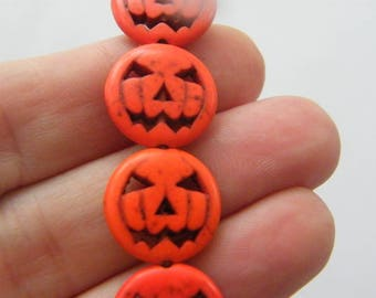 26 Orange pumpkin jack o lantern beads SK1