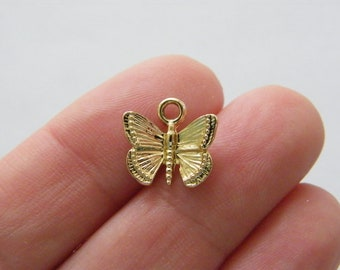 10 Butterfly charms gold tone A78