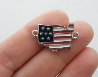 2 United States flag map connector charms silver tone WT89