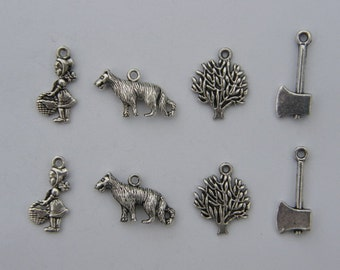 The Little Red Riding Hood Charms Collection - 8  antique silver tone charms