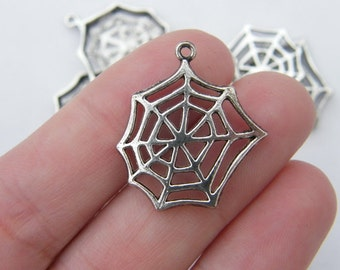 6 Cobweb or spiderweb charms tibetan silver HC132